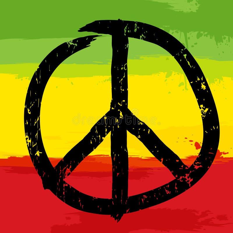 Pokoju symbol i rastafarian kolory w tle, ilustracji