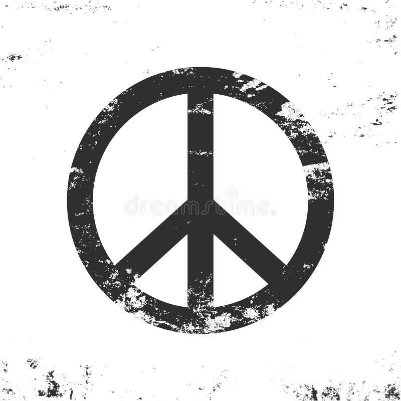 Pokoju symbol z grunge teksturą, czarny i biały rocznika projekt royalty ilustracja