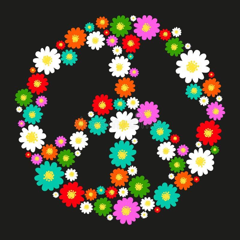Pokoju symbol z kwiatami royalty ilustracja