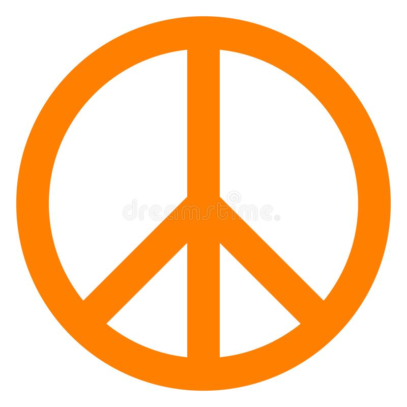 Pokoju symbolu ikona wektor - pomarańczowy prosty, odosobniony - royalty ilustracja
