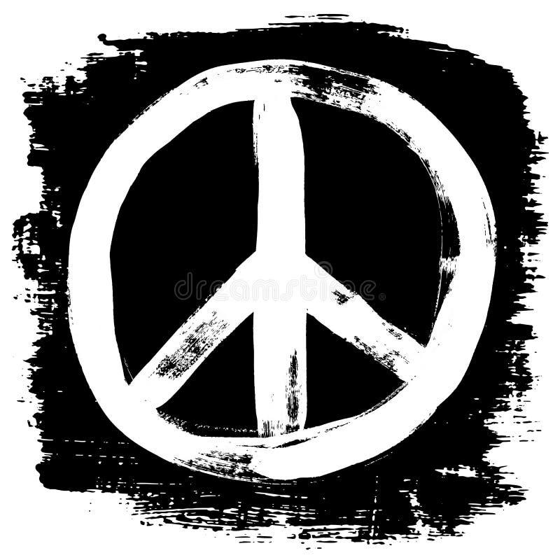 Pokoju znaka grunge doodlie nakreślenia brudny stylowy symbol, szczotkarski uderzenie atramentu akwareli monochrom dla t projekta ilustracji