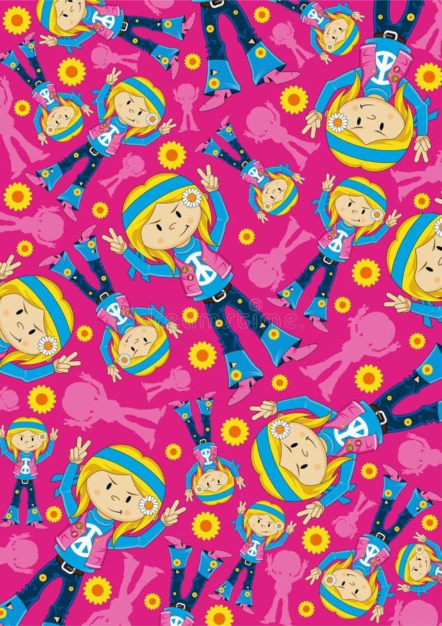Pokoju znaka hipisa dziewczyny Szczęśliwy wzór royalty ilustracja