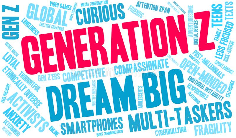 Pokolenia Z s?owa chmura ilustracji
