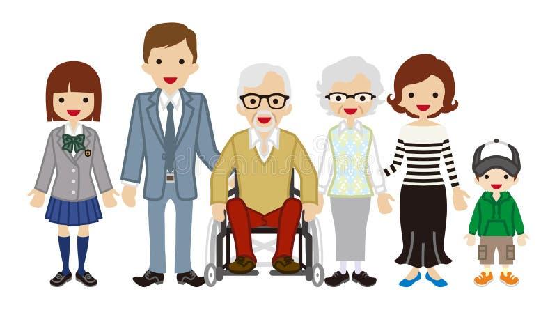 pokolenie rodzina - wózka inwalidzkiego dziadunio ilustracja wektor