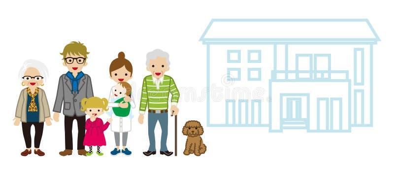 pokolenie rodzina z domem - trzcina dziadunio ilustracja wektor