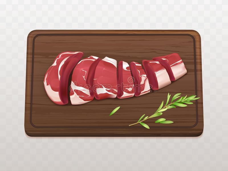 Pokrajać na kawałka surowego mięsa realistycznym wektorze royalty ilustracja