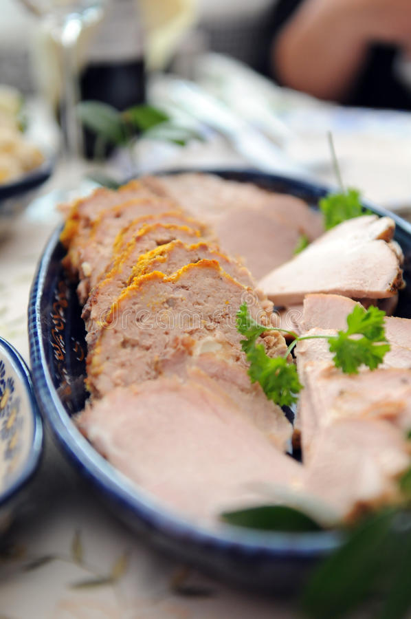 pokrajać naczynia mięso zdjęcia royalty free