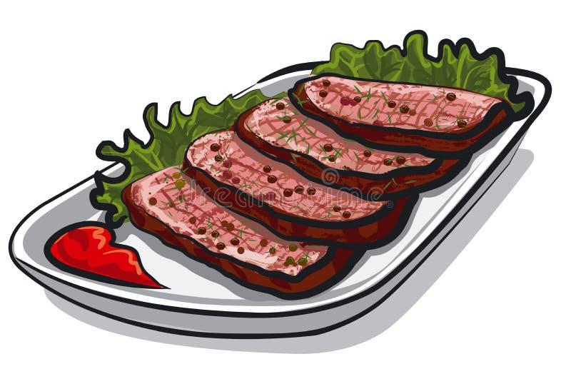 pokrajać wołowiny pieczeń ilustracja wektor