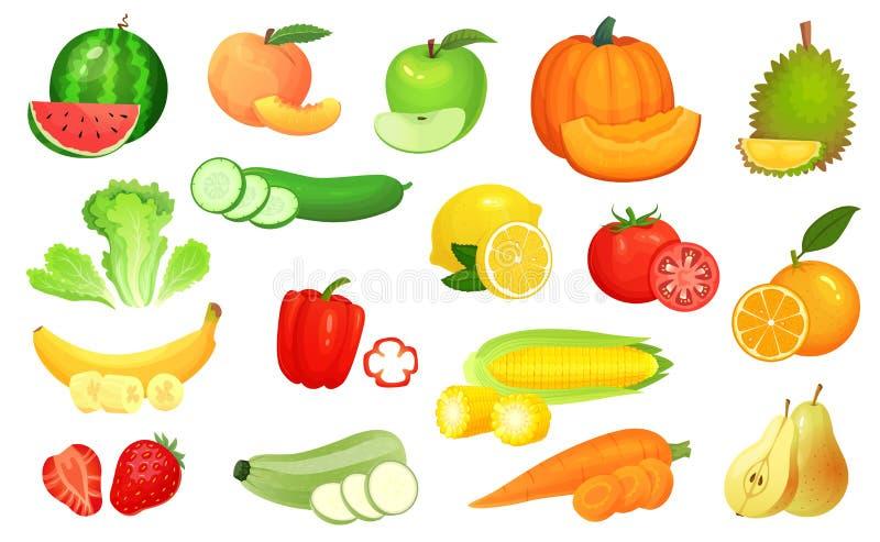 Pokrojeni foods Siekający warzywa i pokrojona owoc Sieka warzywa, owoc i jagod plasterka kreskówki wektoru ilustrację, royalty ilustracja