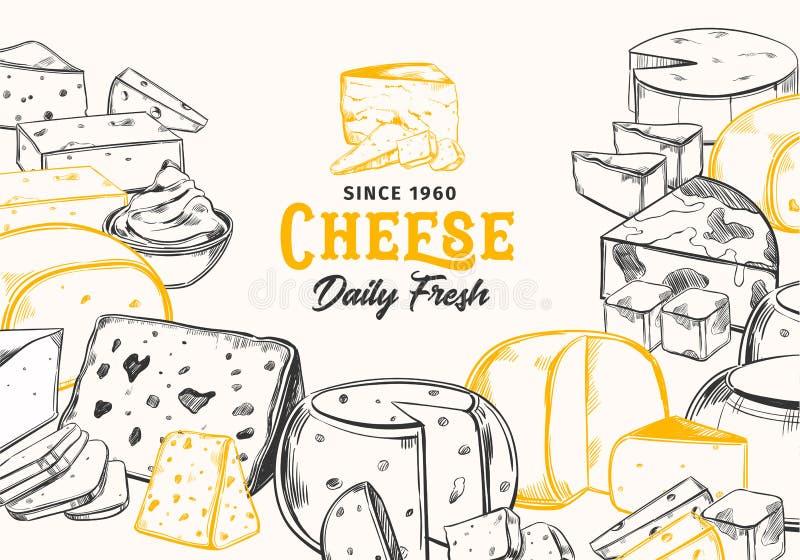 Pokrojeni kawały kreślący ser dla sklepowego sztandaru ilustracja wektor