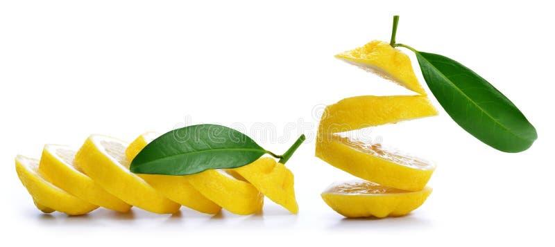 Pokrojona cytryna z zielonym liściem obrazy royalty free