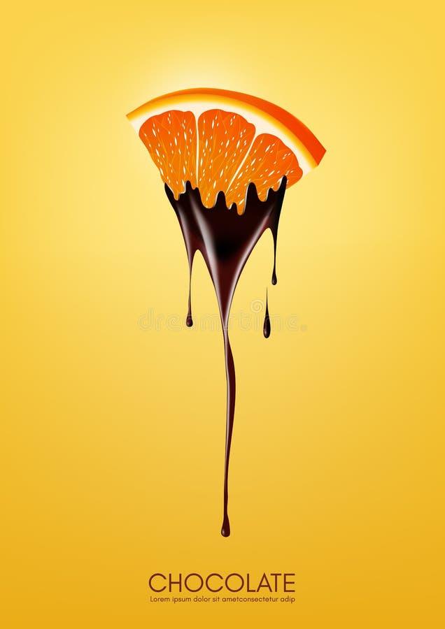 Pokrojona pomarańcze zamaczał w roztapiającej ciemnej czekoladzie, owoc, fondue przepisu pojęcie, przejrzysta, Wektorowa ilustrac ilustracja wektor