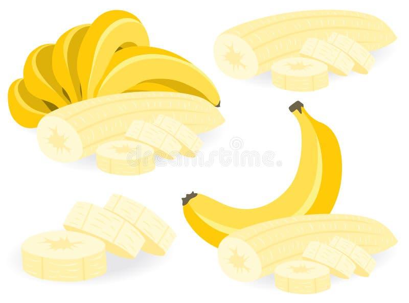 Pokrojone bananowe wektorowe ilustracje ilustracji