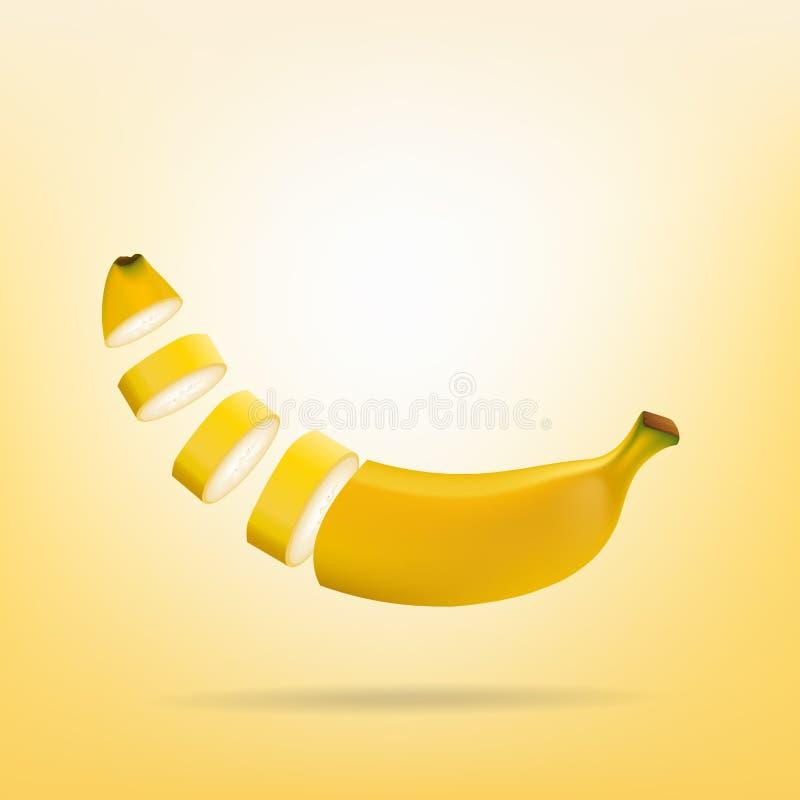 Pokrojony banan na żółtym tle royalty ilustracja