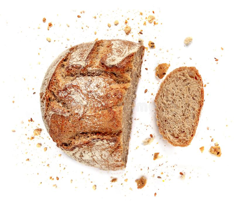 Pokrojony chleb odizolowywający na biały tle Kruszek i świeżego chleba plasterki zamknięci w górę Piekarnia, karmowy pojęcie Odgó zdjęcie royalty free