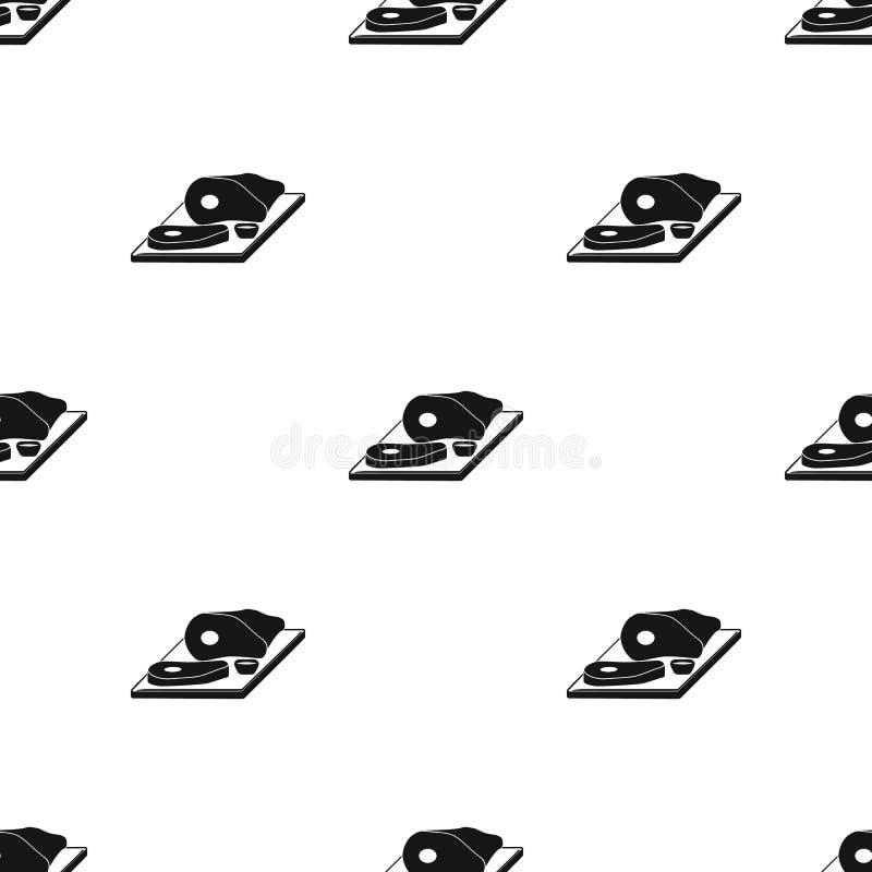 Pokrojony mięso na tnącej deski ikonie w czerń stylu odizolowywającym na białym tle Karczemna symbolu zapasu wektoru ilustracja ilustracji