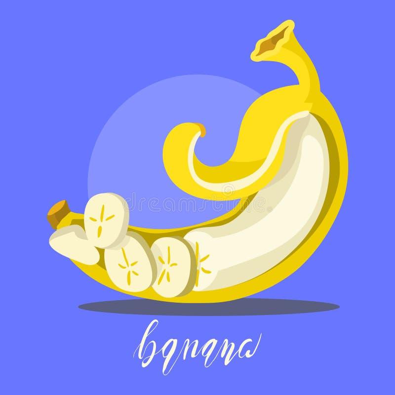 Pokrojony, obrany banan, kreskówka, mieszkanie, prosta ilustracja ilustracji