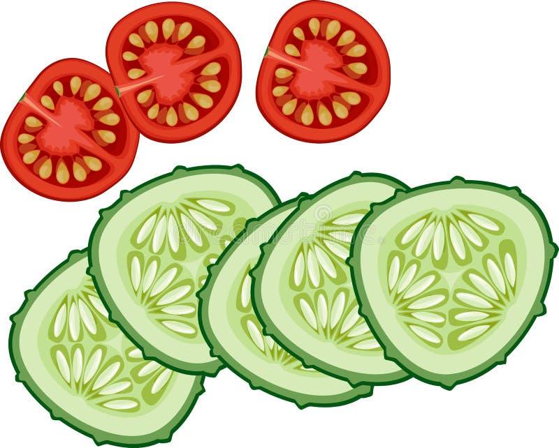 Pokrojony ogórek i pomidor ilustracji