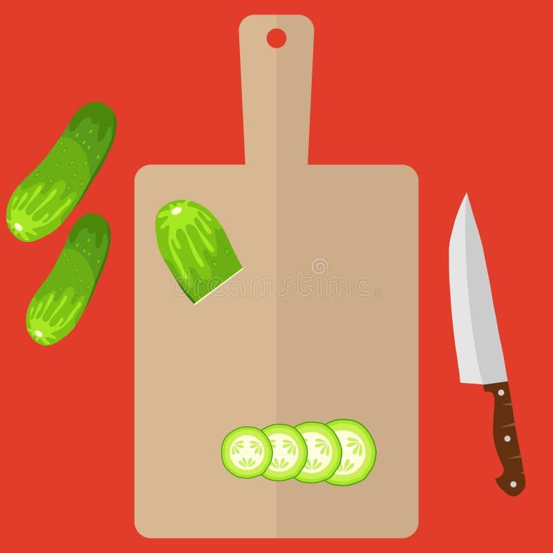 Pokrojony ogórek na tnącej desce, kuchennym nożu i ilustracji