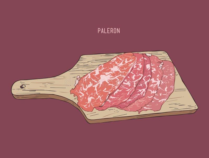 Pokrojony paleron mięso, nakreślenie wektor ilustracji