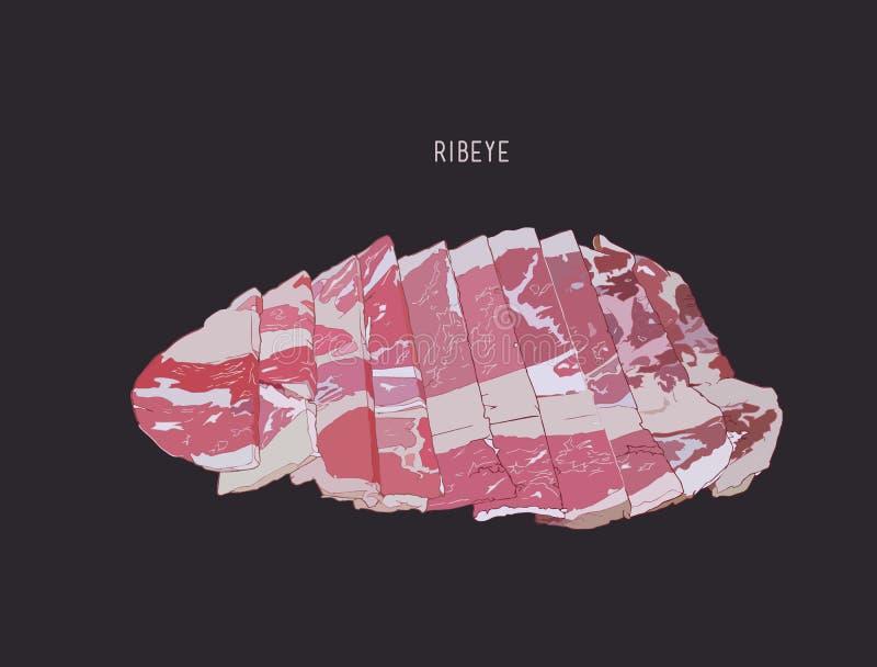 Pokrojony ribeye mięso, nakreślenie wektor ilustracji