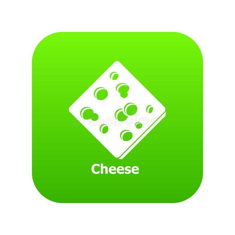 Pokrojony serowy ikony zieleni wektor ilustracja wektor