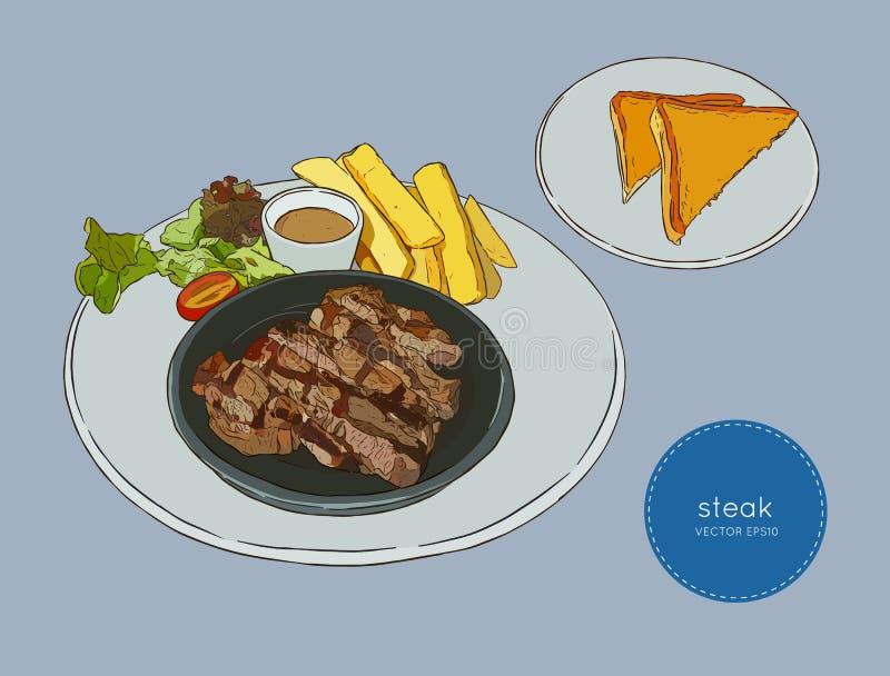 Pokrojony wołowina stek, ręka remisu nakreślenia jedzenia wektor ilustracja wektor