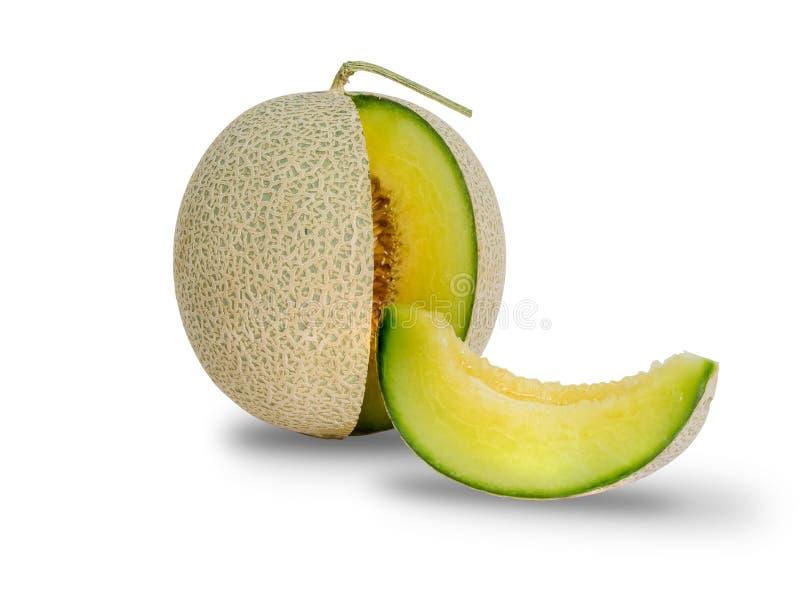 Pokrojony zielony melon odizolowywający na białym tle obrazy royalty free