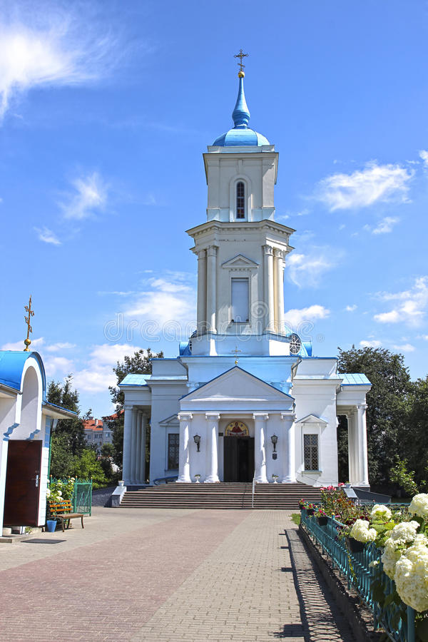 Pokrovsky Cathedral in the city of Baranovichi in Belarus. On a sunny day stock photography