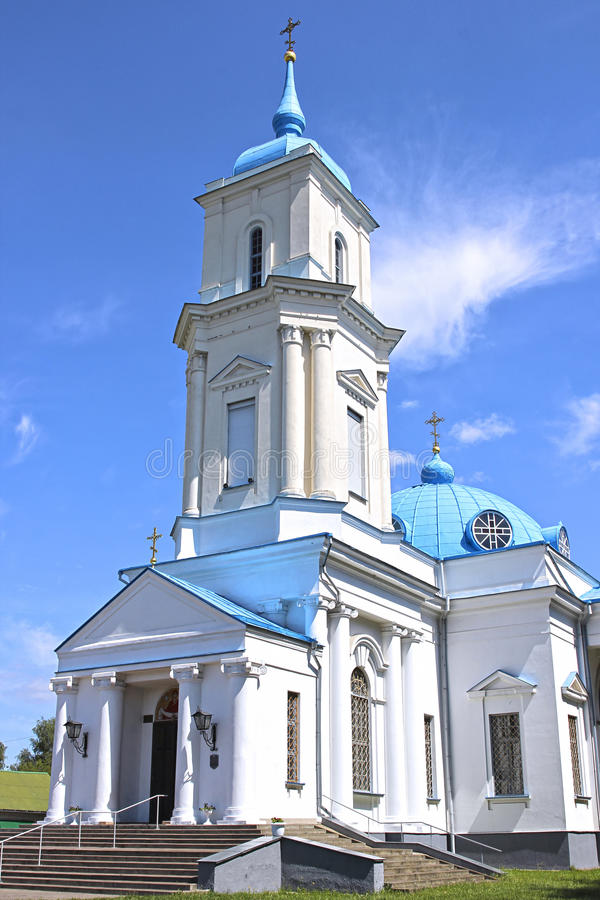 Pokrovsky Cathedral in the city of Baranovichi in Belarus. On a sunny day royalty free stock photo