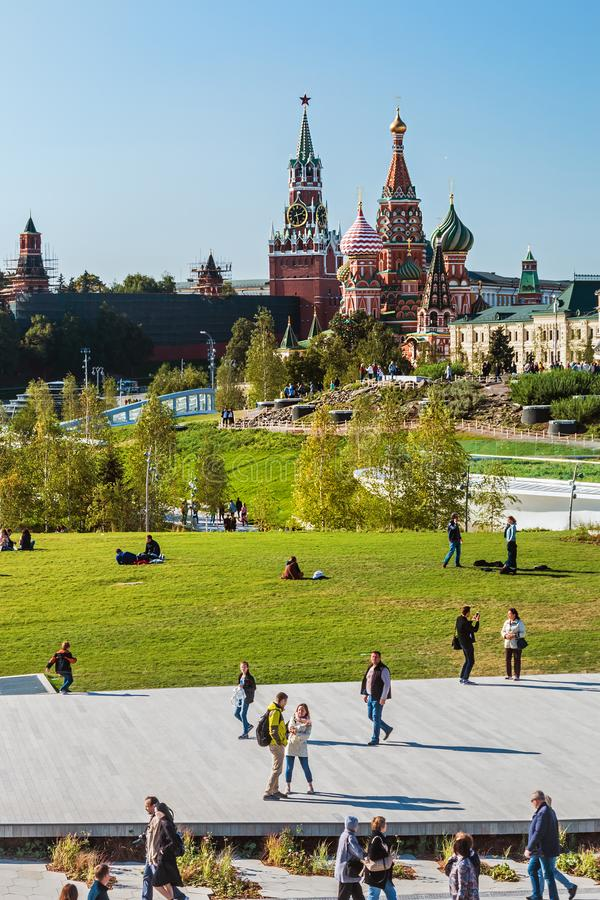 Pokrovsky St basilu Katedralny ` s Kremlin i Moskwa obraz royalty free