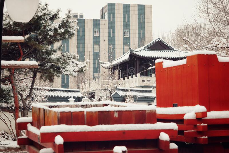 Pokryte śniegiem chińskie domy obraz royalty free