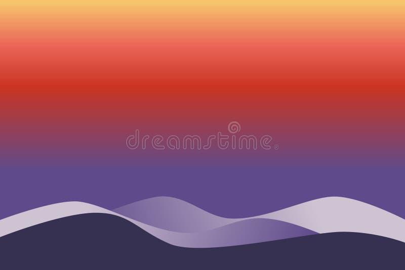 Pokrywać się warstwy Ultrafioletowe fala na gradientowych kolorowych nawierzchniowych purpurach, czerwień, pomarańcze, kolor żółt ilustracji
