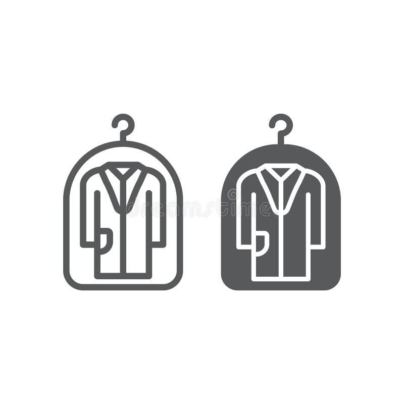 Pokrywa dla, pralnia, ochrona, i, suchy czyści znak, wektorowe grafika, liniowy wzór ilustracji