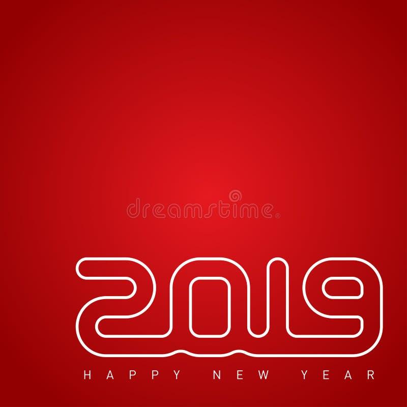 Pokrywa kalendarz dla 2019 Szczęśliwy nowy rok i Wesoło Chris 2019, ilustracji