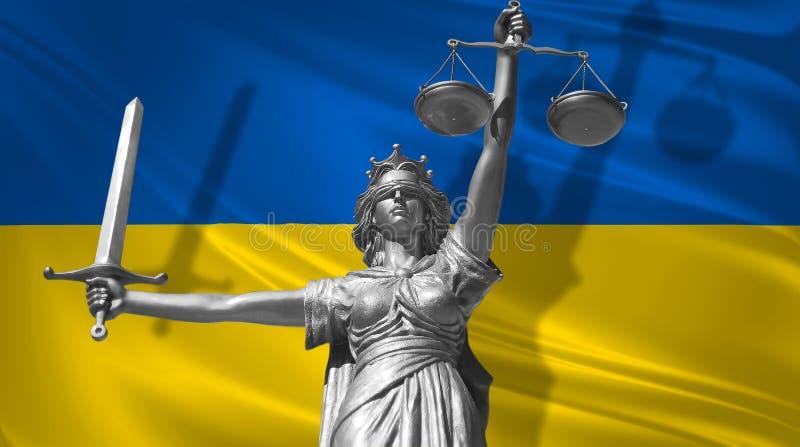 Pokrywa o prawie Statua bóg sprawiedliwość Themis z flaga Ukraina tło Oryginalna statua sprawiedliwość Femida, z skala, ilustracja wektor