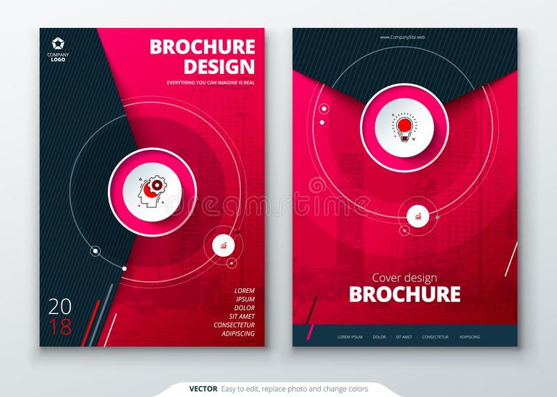 Pokrywa set Magenta szablon dla broszurki, sztandaru, plackard, plakata, raportu, katalogu, magazynu, ulotki, etc Nowożytny okrąg royalty ilustracja
