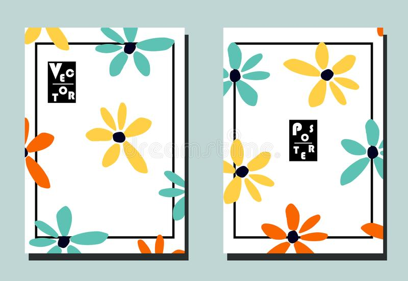 Pokrywa z kreskówka ślicznymi kwiatami ilustracja wektor
