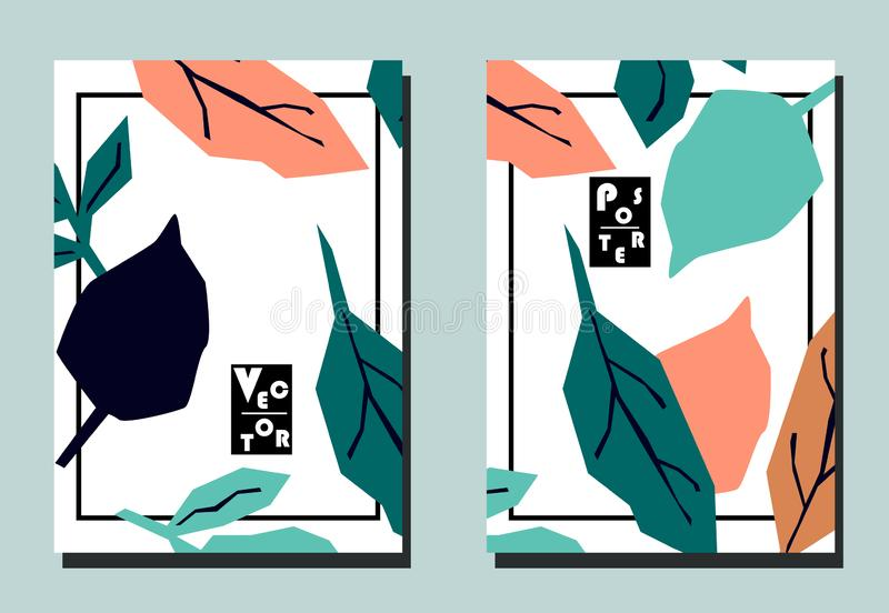 Pokrywa z kreskówka ślicznymi liśćmi ilustracja wektor
