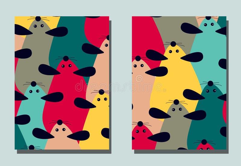 Pokrywa z kreskówki myszą - Chiński symbol nowy rok 2020 ilustracja wektor