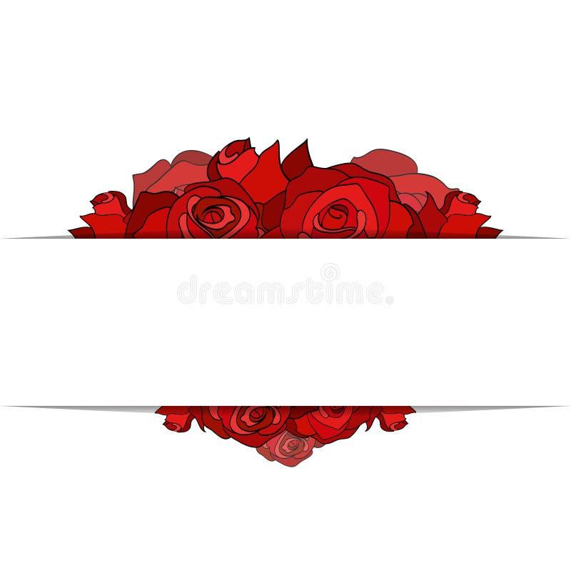 Pokrywa z malować różami i miejsce dla teksta royalty ilustracja