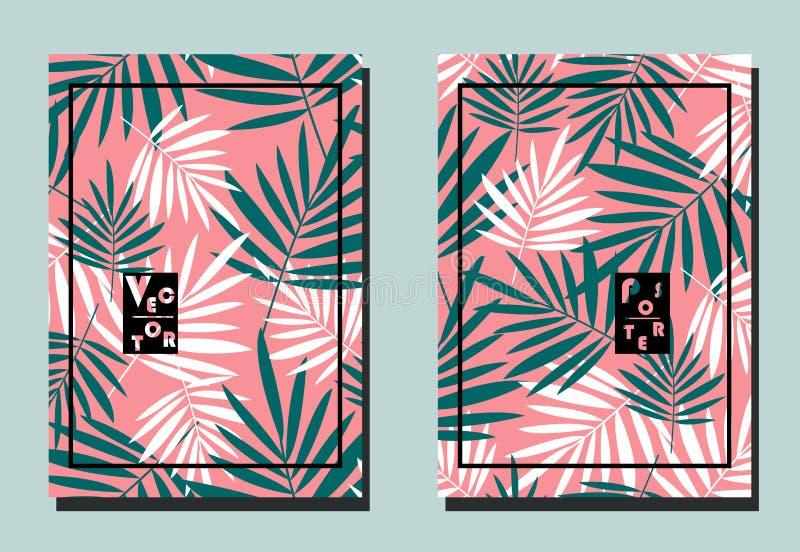 Pokrywa z palmowym turkusem i bielem opuszcza na różowym tle Dwa kwiecistego wektorowego szablonu ulotki ilustracji