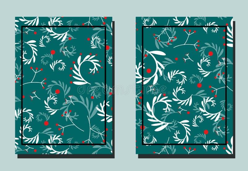 Pokrywa z roślina elementami - sprigs z liśćmi i jagodą Rewolucjonistka, turkus, biel kolory royalty ilustracja