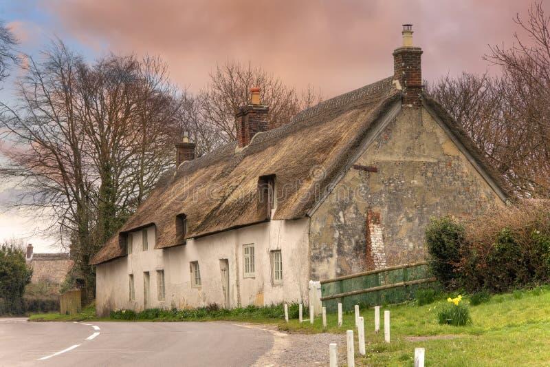 Pokrywająca strzechą chałupa, Dorset obrazy royalty free