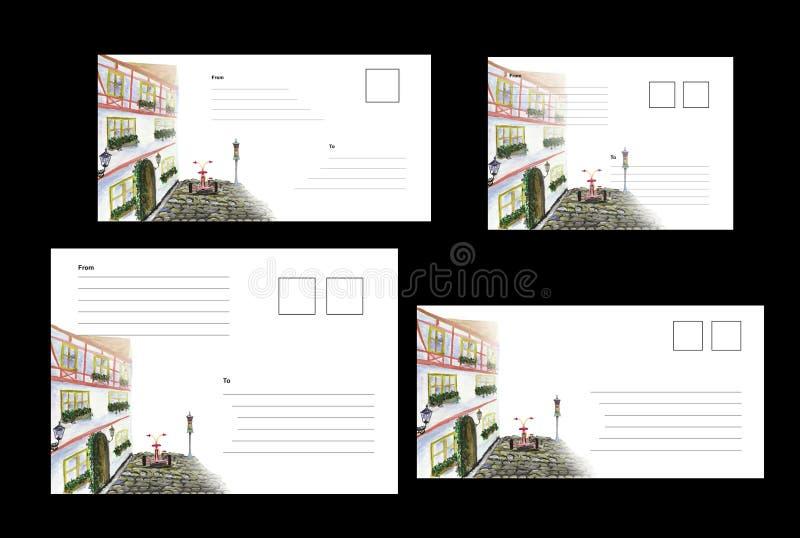 Pokrywy dla kopert wzorzec międzynarodowy DLE/65 z wizerunkiem miasto bicykl, C6, C5, C6C5, zdjęcie royalty free