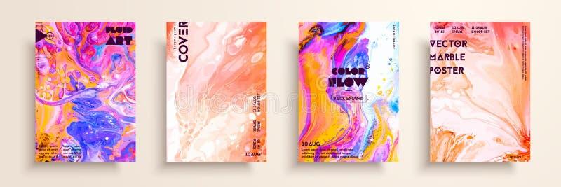 Pokrywy z akrylowymi ciekłymi teksturami abstrakcjonistyczny kolorowy skład nowożytna grafika Kreatywnie fluid barwi tła ilustracja wektor