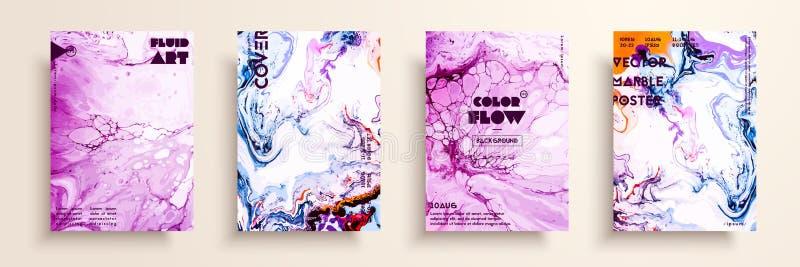 Pokrywy z akrylowymi ciekłymi teksturami abstrakcjonistyczny kolorowy skład nowożytna grafika Kreatywnie fluid barwi tła ilustracji