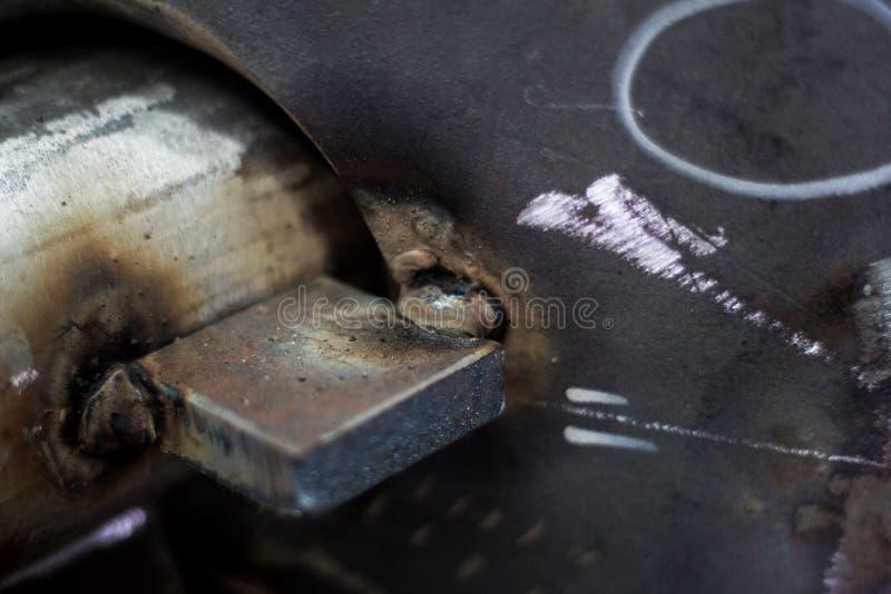 Polędwicowa spawka nozzle dla ciśnieniowego naczynia węgla stali tła zdjęcie stock
