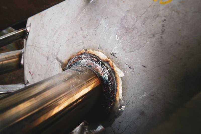 Polędwicowa spawka nozzle dla ciśnieniowego naczynia węgla stali tła obrazy stock