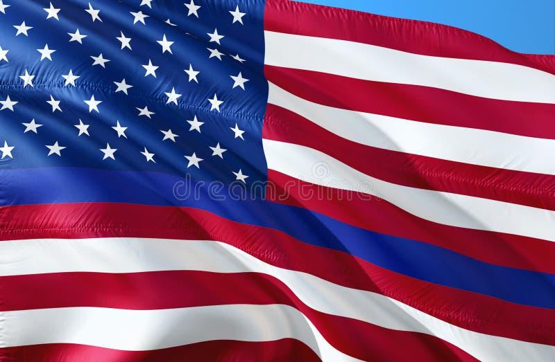 A polícia americana embandeira Linha azul fina símbolo da aplicação da lei da bandeira Bandeira americana com Blue Line fino Fund ilustração do vetor
